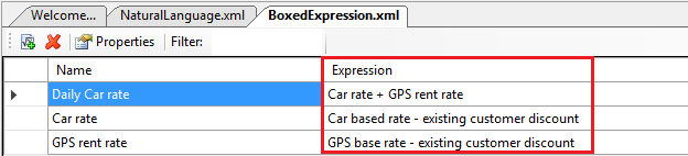 boxed expressions - create a new Boxed Expression and add all our formulas