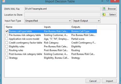 Import DMN models – XML 1.1