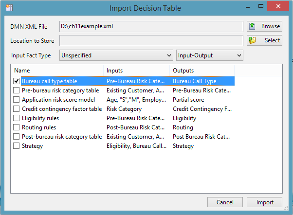 Import DMN - import decision table with XML