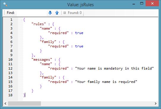 jQuery Validator JSON2