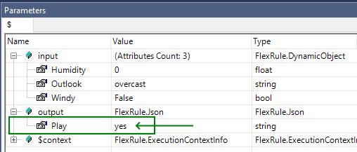 business rule mining - parameters window result
