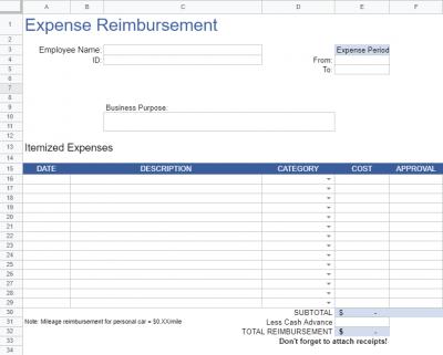 Expense reimbursement- google Workspace sheet