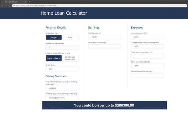 Home loan calculator